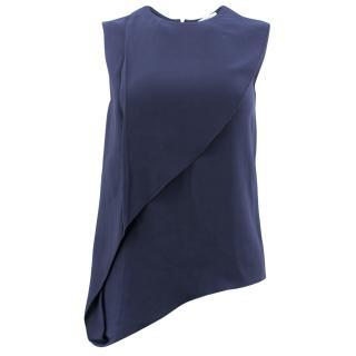 Vionnet Navy Silk Sleeveless Top.