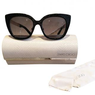 Jimmy Choo black Nita sunglasses real leather trim