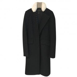 Louis Vuitton black coat with white mink  trim