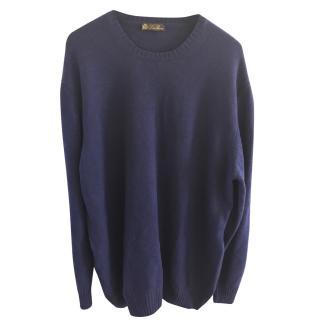 Loro Piana Blue 100% Cashmere Roundneck Sweater