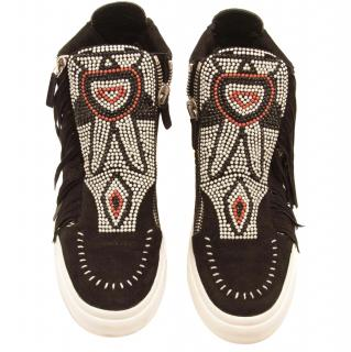 Guiseppe Zanotti embroidered suede sneakers