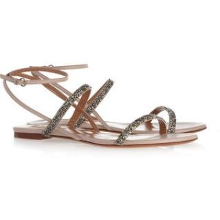 Valentino Crystal-Embellished Leather Sandals - Nude