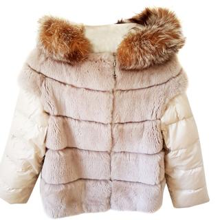 N.Peal quilted fur jacket with hood