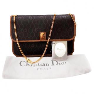 Christian Dior Vintage Black and Brown Monogrammed Shoulder Bag.