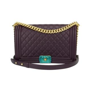 CHANEL New Medium Boy Dark Purple Lambskin Brushed Gold Hardware