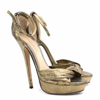 Jimmy Choo Greta Lame Gold Platform Sandals