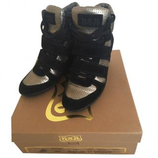 Ash black wedge trainers