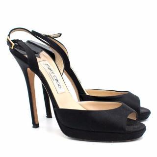 Jimmy Choo Black Satin Sandals