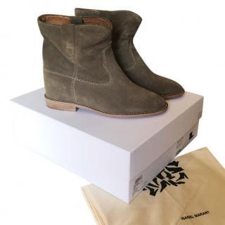 Isabel Marant Etoile Crisi Hidden Wedge khaki boots