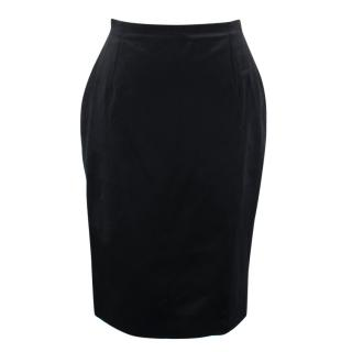 Versace Black Silk Pencil Skirt