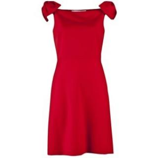Valentino red bow off shoulder dress