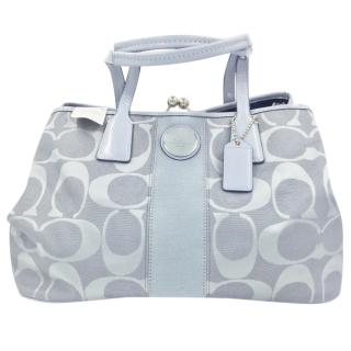 Coach Blue Grey Signature Fabric Patent Kisslock Tote Bag