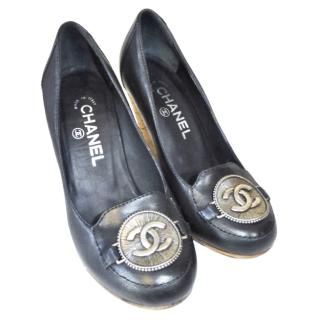 Chanel Black Leather Cc Fob Front Wedges