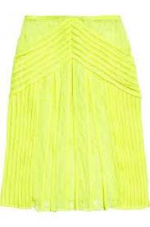Christopher Kane Keke pleated neon skirt