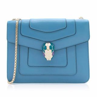 Bvlgari 'Serpenti Forever' Blue Flap Cover Bag