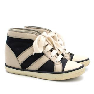 Isabel Marant Cream and Black Wedge Trainers