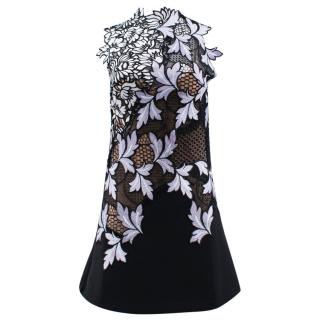 Self Portrait Black and Flower Pattern Dress
