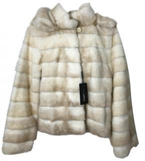 Saga Furs Beige & White Mink Fur Jacket.