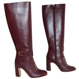 Rupert Sanderson Celeus Prune Leather Heel Knee Boots UK5/EU38