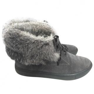 Vince Fur-Cuff Sneaker Boot