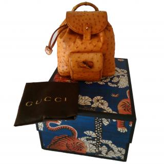 GUCCI  Bamboo mini ostrich backpack
