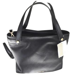 Michael Michael Kors black  leather  shoulder tote