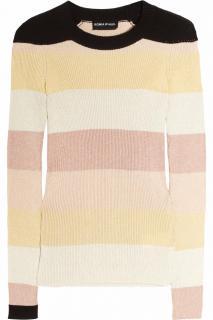 Sonia Rykiel Striped metallic knitted cotton-blend sweater