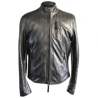 Armani Jeans Black Leather Cafe Racer Biker Jacket