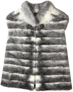Saga Furs Two Tone Mink Fur Sleeveless Jacket.