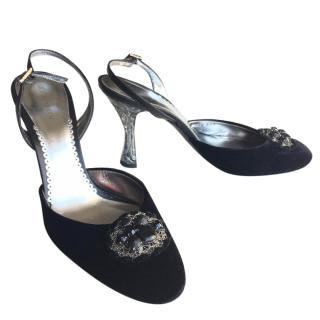 GIORGIO ARMANI black velvet embellished slingback pumps