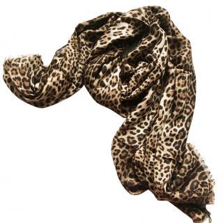 Dolce & gabbana cashmere blend Bengal cat print scarf