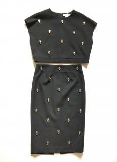 ELIZABETH AND JAMES black embellished stretch skirt + top