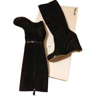 Pollini black wedge boots