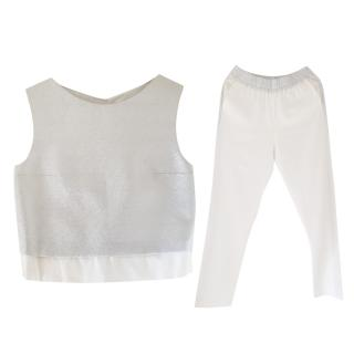 Make White and Silver Top and Pant Set