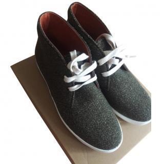 Penelope Chilvers Khaki Glitter Wool Jungle Sneaker Boot