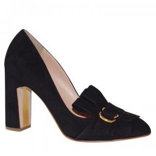 Rupert Sanderson Madge Black Suede Heel Shoes