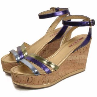 Prada Leather Ankle Strap  Cork Wedge Sandals