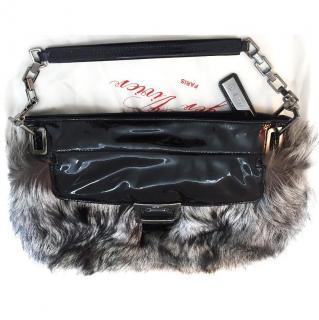 Roger Vivier silver fox fur patent handbag