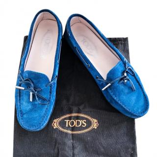 Tods blue suede loafers