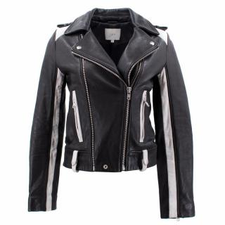 Iro Black and White Lamb Leather Jacket