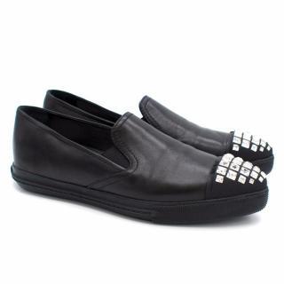 Miu Miu Black Leather Jewelled Sneakers