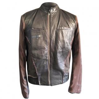 Roberto Just Cavalli Leather Cafe Racer Biker Jacket