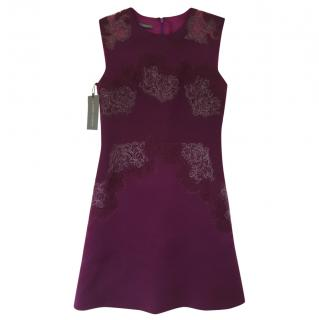Alberta Ferretti Silk Purple/Magenta Embroidered mini dress