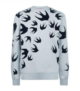 Alxander Mcqueen Iconic Swallow Sweat in Grey Marl