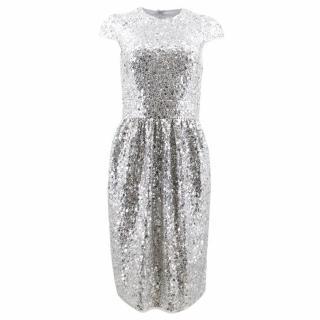 Naeem Khan Silver Sequined Sheath Dress