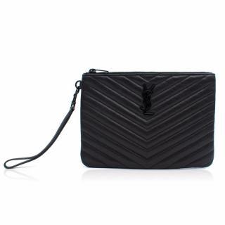 YSL Monogram Pouch In Black Matelasse Leather