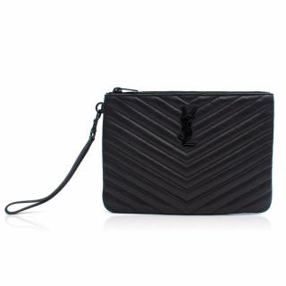 YSL Monogram Pouch In Black Matelasse Leather