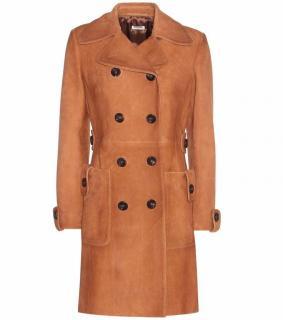 Miu Miu Caramel Suede Lamb Leather Coat