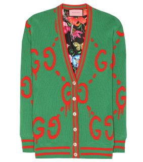 Gucci Green Reversabile wool & Silk Gucci Cardigan