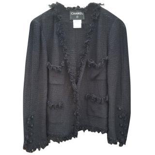 Chanel Black Fringed Cardigan